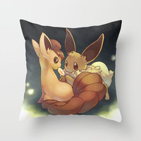Eevee and Vulpix Throw Pillow by Yamilett Pimentel