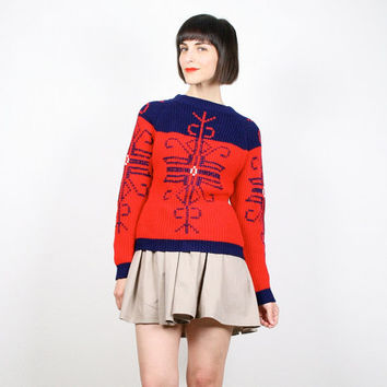 Vintage 70s Sweater Hippie Sweater Red Navy Jumper Pullover Ski Sweater Crochet Knit Boho Nordic Sweater 1970s Red Blue Snowflake M Medium