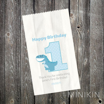 First 1st Birthday Party Supplies Lolly Bags Dinosaur Favour Cake Boys Blue Personalised White Paper Favor Small 80mm x 140mm