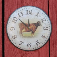 Rustic Tin Cow Clock