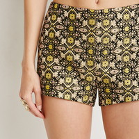 Metallic-Embroidered Tapestry Shorts