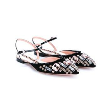 ROCHAS   Embellished Point-Toe Flats   brownsfashion.com   The Finest Edit of Luxury Fashion   Clothes, Shoes, Bags and Accessories for Men & Women