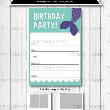 Printable Party Invitation, Mermaid, Under the Sea, Purple, Pink, Teal, Nautical, Princess, Birthday, Decorations, DIY,  INSTANT DOWNLOAD