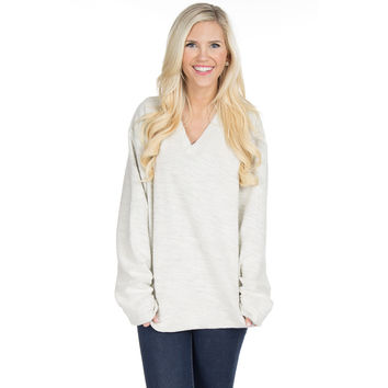 The Shaggy V-Neck Sweatshirt in Light Grey by Lauren James