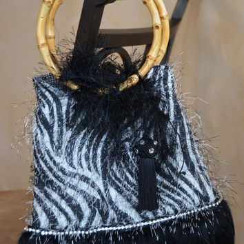 On Sale Handmade Handbag Small Zebra eyelash, purse, tote, clutch,  with real feathers and rhinestone trim.