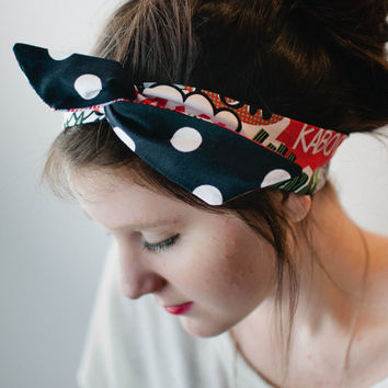 Dolly Bow, Reversible Comic Sayings with Black and White Polka Dots Rockabilly Wire Headband