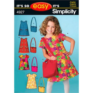 Simplicity 4927 Child's Dress and Bag, Sewing Pattern, Sizes 3 - 4 - 5 - 6 - 7 - 8, New, Uncut, Factory Folds