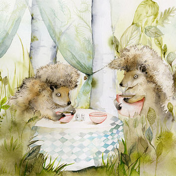 hedgehogs, children, decor, forest- Forest Cafe