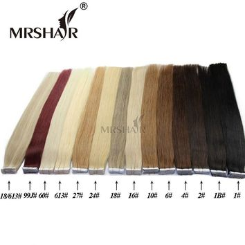 "MRSHAIR Tape In Human Hair Extensions 16"" 18"" 20"" 22"" 24"" 20pcs Straight Brazilian Hair On Adhesives Invisible Tape PU Skin Weft"