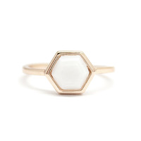 Hexagon Ring - Mother of Pearl