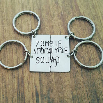 Set of 4 aluminum hand stamped zombie apocalypse squad puzzle piece set, gifts for friends, by miss ashley jewelry