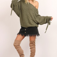 Off Shoulder Lace Sweater - Green