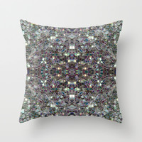 Sparkly colourful silver mosaic mandala Throw Pillow by PLdesign