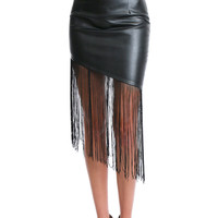 Heavenly Joy Fringe Skirt - Black Leather