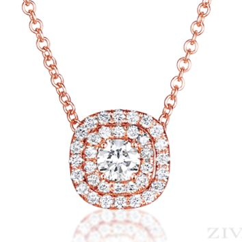 Ziva Rose Gold Diamond Pendant with Double Halo