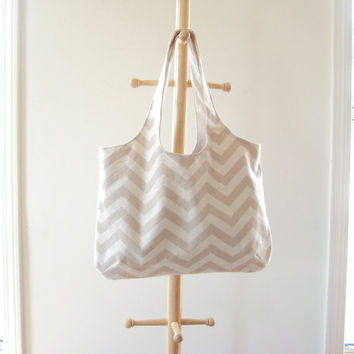 Khaki Chevron Tote, Beige Canvas Chevron Tote, Beach Bag, Gym Bag, Khaki and Cream, Ready to Ship