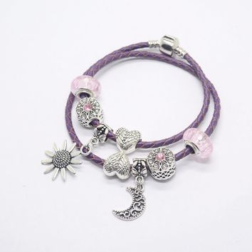 Pink styl Women bracelet  Murano Glass Bead Crystal Sun and moon love Awareness fit european bracelet women charm js1498