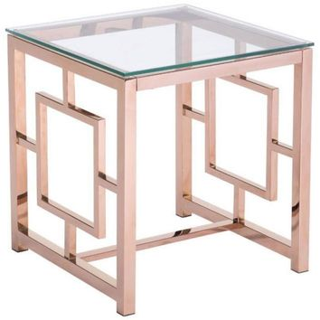 ZUO Modern Geranium Side Table Rose Gold 100186 Living Consoles