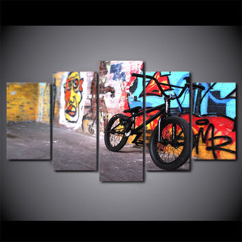 Graffiti Abstract Bike 5-Piece Wall Art Canvas