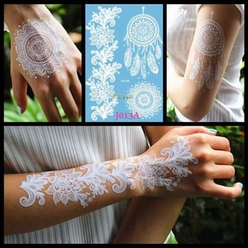 White Henna Dreamcatcher Temporary Tattoo For Women Wedding Body Art Tatoo Paste Waterproof Dream Catcher Fake Tattoo Stickers