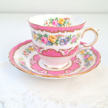 English Bone China Crown Staffordshire Tea Cup and Saucer Tea Party Shabby Chic