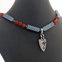 Mens Arrow Head Hematite Carnelian Necklace, Dragon Eye Arrow Head Pendant, Mens Jewelry, Mens Accessory