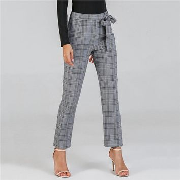 Casual Trousers Women Fashion Long Pants Clothes Womens Clothing Waist Knot Plaid Pants
