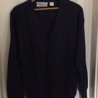Filenes blue mens cardgian sweater with leather wrapped buttons