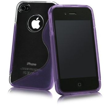 Leegoal Purple S-Line Hybrid Case for Apple iPhone 4 4S