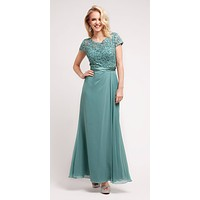 Mother of Groom Sage Green Dress Long Short Sleeve Lace Top