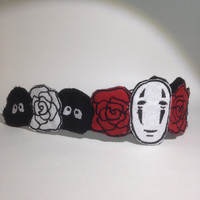 Spirited Away No Face and Soot Sprites embroidered headband/hairpiece