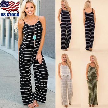 Women's Striped Sleeveless Jumpsuit & Romper Casual Loose Clubwear Long Playsuit