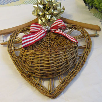 Tree Branch Woven Heart Basket with Red and White Stripped Bow and a Bling Flower Accent