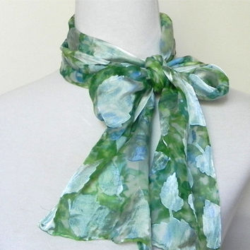 Devore satin scarf hand dyed in shades of green and blue, silk scarf #375, ready to ship