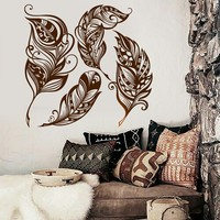 Wall Vinyl Decal Feather Romantic Dream Catcher Bedroom Decor Unique Gift z3911