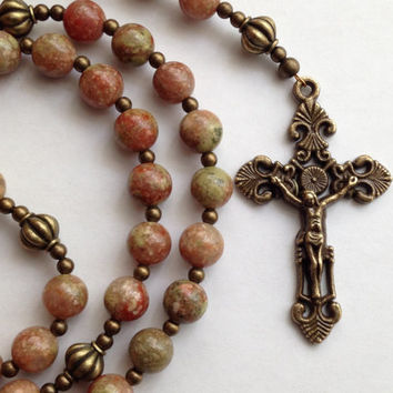 Autumn Jasper Rosary, Autumn Jasper Beads, Catholic Rosary, Immaculate Heart of Mary, Bronze Crucifix, Rosary Beads, Catholic Gift