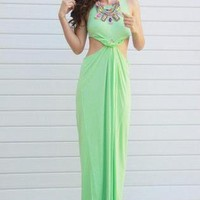 Lime Maxi Dress with High Neckline and Knotted Waist Detail
