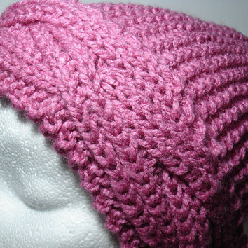 Pink Hat Knit, Knitted hat Big Braid, Hand Knit Oversized hat