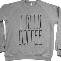 I Need Coffee Sweatshirt-Unisex Heather Grey Sweatshirt