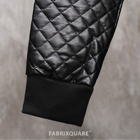 Dark Quilted Leather Sleeve Extended Cotton Fleece Hooded Zip-Up Jumper
