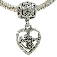 Grandma Heart Dangle Bead in Silver Plate for European Charm Bracelet