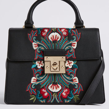 Faux Leather Embroidered Tote Bag | M&S