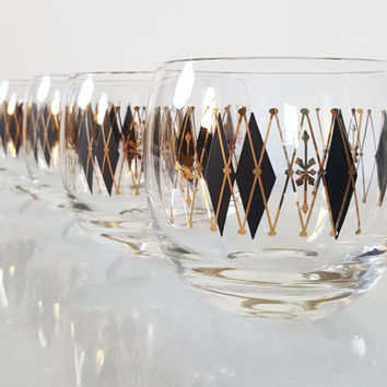 Set of Eight Vintage Federal Black Diamond Harlequin Roly Poly Cocktail Glasses