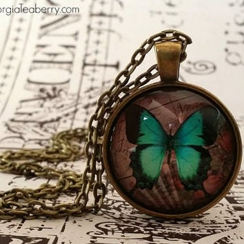 Butterfly, glass dome necklace, round glass pendant, gift ideas, hostess gift, party favors, Christmas, stocking stuffers, bright blue green