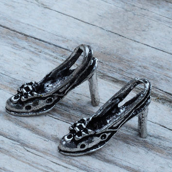 Vintage Glamor High Heel Shoes Charms Silver Plated Jewellery Findings 6pcs Jewellery Making diyforstyle