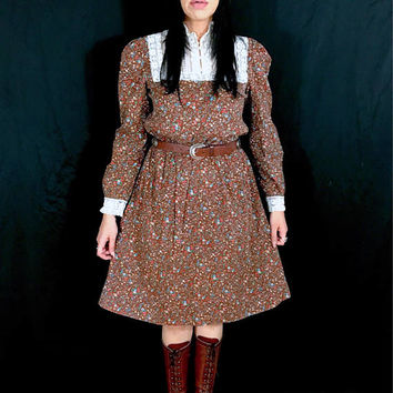 Vintage 70's Cotton Victorian Lace High Collar Floral Western Blousy Style Prairie Dress M // L