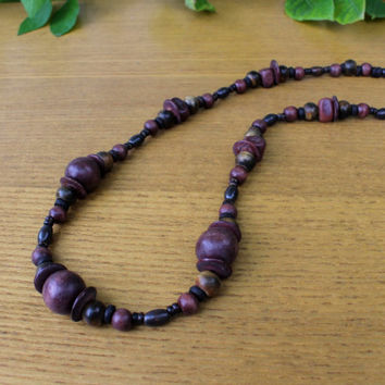 Brown beaded necklace wooden horn beads ethnic jewelry tribal