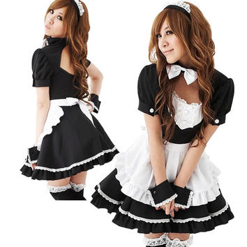 New Sexy Lolita French Maid Cosplay Costume Dress Halloween
