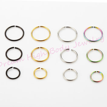 1PCS Medical Nostril Titanium Gold Silver Fake Nose ring Hoop Clip On Ear Earring Lip Stud Plain Body Piercing Jewelry For Women