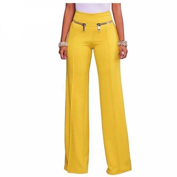 Wide Leg Slacks With Zip Pockets